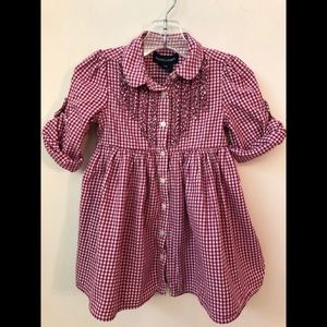 Ralph Lauren Red Check Dress Top Ruffles 18M